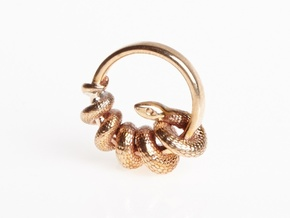 Reverse Snake Ring in Polished Bronze