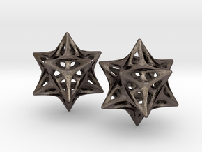 Softened Stellated Dodecahedron Star in Polished Bronzed Silver Steel