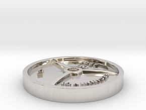 Barbell Plate Pendant in Rhodium Plated Brass: Medium