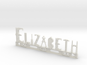 Elizabeth Nametag in White Natural Versatile Plastic