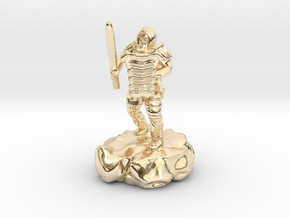 Hill Dwarf Figher in 14k Gold Plated Brass