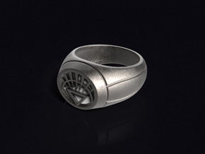 White Lantern Ring in Stainless Steel