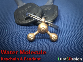 Water Molecule Keychain in Polished Bronzed Silver Steel