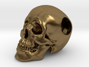 Human Skull Bead - small in Natural Bronze