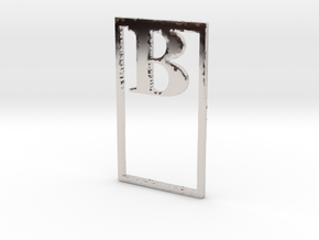 Bookmark Monogram. Initial / Letter  B  in Rhodium Plated Brass