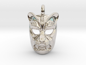 Leopard kabuki-style Small Pendant in Rhodium Plated Brass