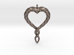 Twisted Heart New in Polished Bronzed Silver Steel