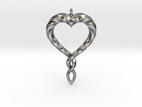 Twisted Heart New in Fine Detail Polished Silver
