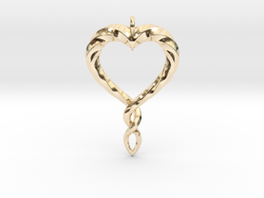 Twisted Heart New in 14k Gold Plated Brass