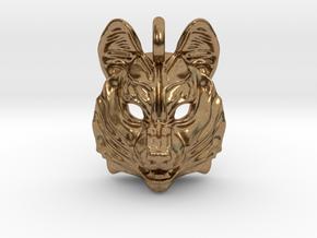 Siberian Husky Small Pendant in Natural Brass