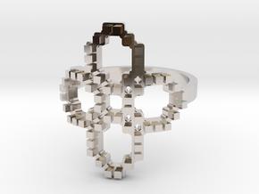 FlowER Ring in Rhodium Plated Brass: 8 / 56.75
