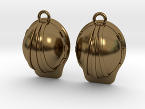Hard Hat Earrings in Polished Bronze
