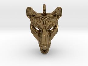 Thylacine (tasmanian tiger) Small Pendant in Natural Bronze