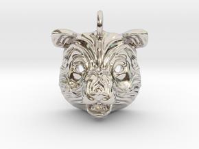 Panda Small Pendant in Rhodium Plated Brass
