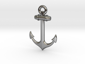 Anchor Pendant in Polished Silver