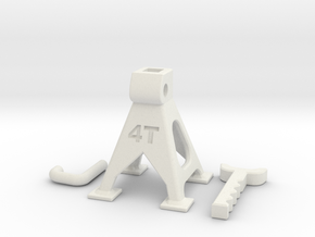 1/0 Scale Jack stand (adjustable) in White Natural Versatile Plastic