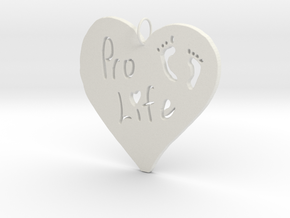 Pro Life Heart Pendant in White Natural Versatile Plastic