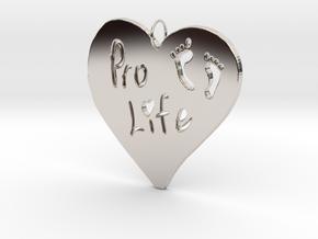 Pro Life Heart Pendant in Platinum