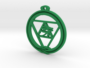 Tri Ouroboros Horus Pendant in Green Strong & Flexible Polished