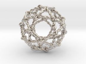 "Twisted Penta Sphere 1.6"" in Rhodium Plated Brass"