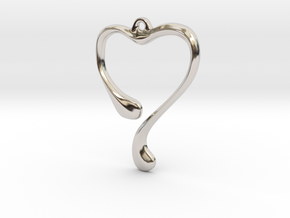 Heart shape pendant in Rhodium Plated Brass