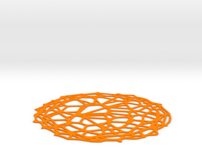 Coaster - Voronoi #4 (13 cm) in Orange Processed Versatile Plastic