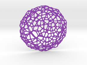 Drink coaster - Voronoi #5 (9 cm) in Purple Strong & Flexible Polished