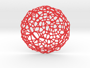 Coaster - Voronoi #5 (14 cm) in Red Processed Versatile Plastic