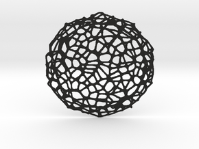 Coaster - Voronoi #8 (13 cm) in Black Strong & Flexible