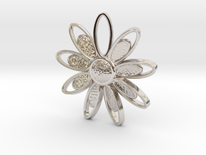 Spring Blossom 3 - Pendant in Rhodium Plated Brass