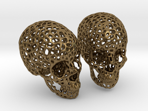Human Skull Voronoi Style in Natural Bronze