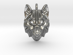 Timber Wolf Pendant in Natural Silver