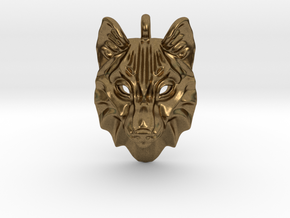 Timber Wolf Small Pendant in Natural Bronze