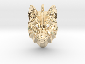 Timber Wolf Small Pendant in 14k Gold Plated Brass