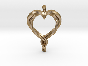 Twisted Heart in Polished Gold Steel