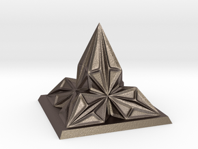 Pyramid Arcology in Polished Bronzed Silver Steel