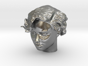Adriana Lima Female Model Head Sculpt in Natural Silver