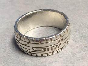 Subaru STI ring  - 16 mm (US size 5 1/2) in Natural Silver