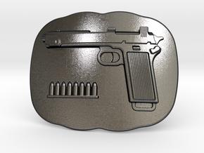 Steyer9 Belt Buckle in Polished Grey Steel