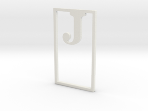 Bookmark Monogram. Initial / Letter  J  in White Natural Versatile Plastic