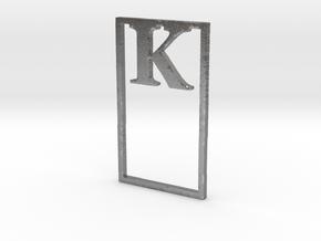 Bookmark Monogram. Initial / Letter  K  in Natural Silver