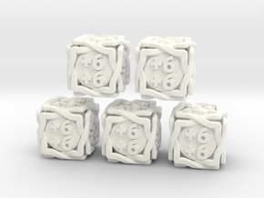5 × 'Twined' D6 +1/+1 counters (14 mm) SOLID in White Processed Versatile Plastic