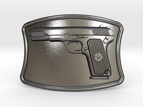 Tokarev Belt Buckle in Polished Grey Steel
