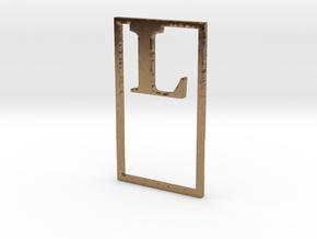 Bookmark Monogram. Initial / Letter  L  in Natural Brass