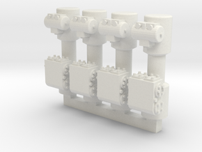 4 Weir Pumps in White Natural Versatile Plastic