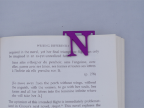 Bookmark Monogram. Initial / Letter  N  in Purple Processed Versatile Plastic
