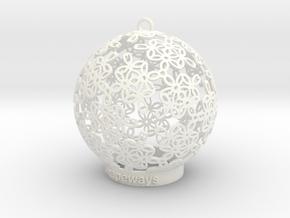 Flowers Ball Ornament in White Processed Versatile Plastic