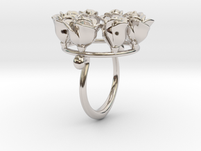8 Roses in a circle.  in Rhodium Plated Brass