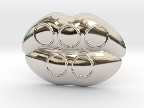 Kiss Me Olympic Belt Buckle in Rhodium Plated Brass