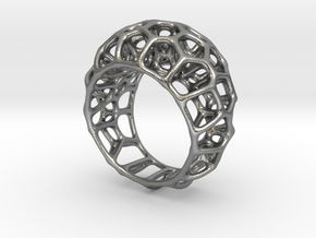 Voronoi Cell Ring  (Size 60) in Natural Silver